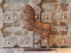 Early 19th Century Carved Teak Prancing Horse on Stand <b>sold<b>